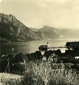 Austria Salzkammergut Gmunden Castle Old Stereo Photo Photobrom 1900