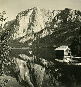 Autriche Salzkammergut Alt Ausseer See Trisselwand ancienne Stereo Photo Photochrom 1900