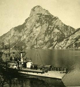Austria Salzkammergut Traunstein Steamer Boat Old Stereo Photo Photobrom 1900