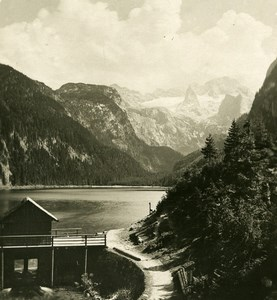 Austria Salzkammergut Gosausee Dachstein Old Stereo Photo Photobrom 1900