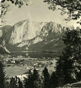 Austria Salzkammergut Alt Ausse from Trisselwand Stereo Photo Photobrom 1900
