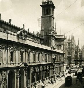 Italie Milan Via Mercanti & Duomo ancienne Photo Stereo NPG 1900