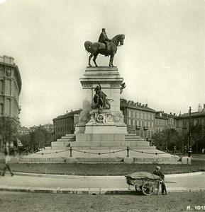 Italie Milan Monument Garibaldi Foro Bonaparte ancienne Photo Stereo 1900