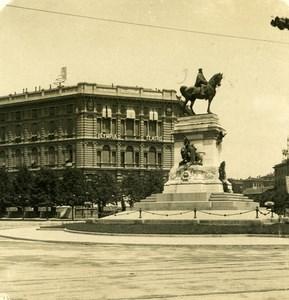 Italie Milan Monument Garibaldi Foro Bonaparte ancienne Photo Stereo NPG 1900