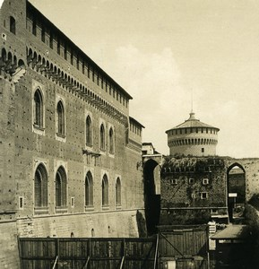 Italie Milan Château Sforza Castello Sforzesco ancienne Photo Stereo NPG 1900