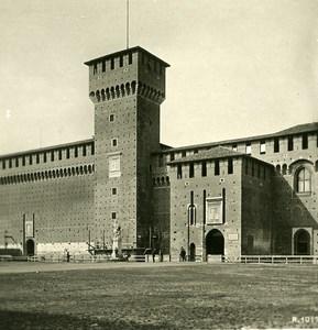 Italie Milan Château Sforza Castello Sforzesco ancienne Photo Stereo 1900