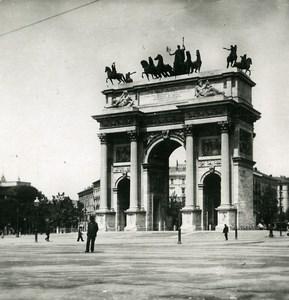 Italie Milan Arche de la Paix Arco della Pace ancienne Photo Stereo 1900