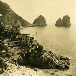 Italie Capri Piccola Marina Tour Sarrazine ancienne Photo Stereo NPG 1900