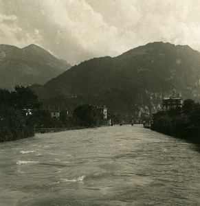 Suisse Interlaken Pont sur la riviere Aar ancienne Stereo Photo NPG 1900