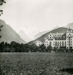 Switzerland Interlaken Hotel Savoy Old Stereo Photo 1900