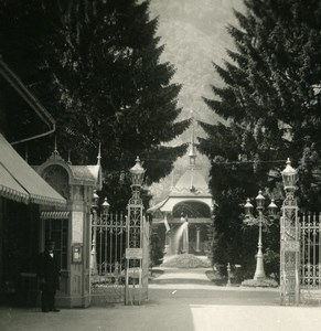 Switzerland Interlaken Kursaal Gardens Entry Old Stereo Photo 1900