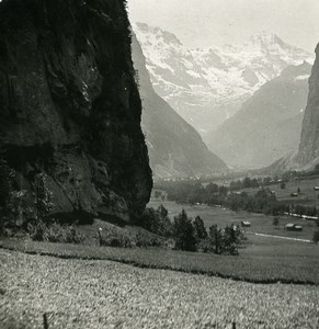Switzerland Lauterbrunnen upper Valley Old Stereo Photo 1900