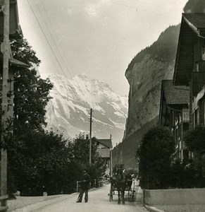 Switzerland Lauterbrunnen Staubbach Old Stereo Photo 1900