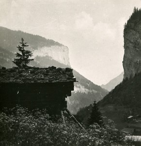 Switzerland Interlaken Lake Hunnenfluh Old Stereo Photo 1900