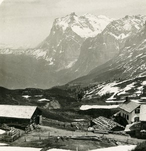 Switzerland Kleine Scheidegg with the Wetterhorn Old Stereo Photo 1900