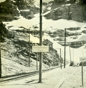 Switzerland Railway Station of Jungfrau Old Stereo Photo 1900