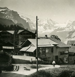 Switzerland Wengen Village Breithorn Monch Mountain Old Stereo Photo 1900