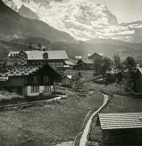 Switzerland Wengen Village Jungfrau Panorama Old Stereo Photo 1900