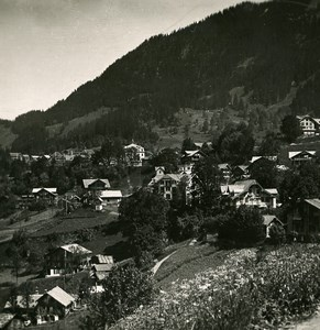 Switzerland Wengen Village Hotels Panorama Old Stereo Photo 1900