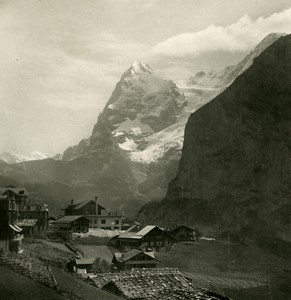 Suisse Mürren Panorama Monch et Eiger ancienne Stereo Photo 1900