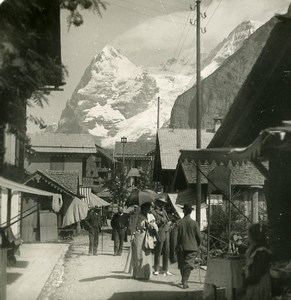Switzerland Mürren Busy Main Street & Eiger Mountain Old Stereo Photo 1900