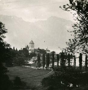 Switzerland Lake Thun Spiez Castle Old Stereo Photo 1900