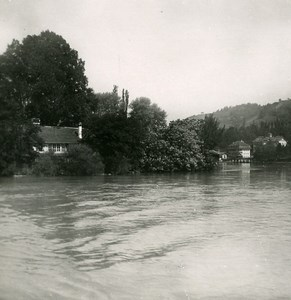 Suisse Scherzlingen Lac de Thoune Riviere Aar ancienne Stereo Photo 1900