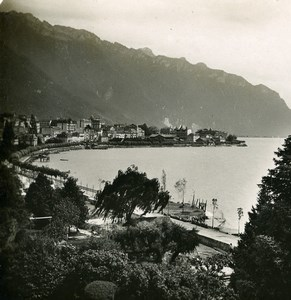 Suisse Montreux Panorama Lac Leman ancienne Stereo Photo 1900