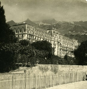 Switzerland Montreux Palace Hotel Old Stereo Photo 1900