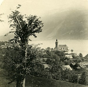 Switzerland Brienz and the Lake Old Stereo Photo 1900