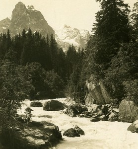 Switzerland Rosenlaui Reichenbach Wetterhorn Old Stereo Photo Wehrli 1900