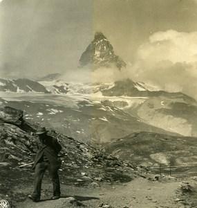 Suisse Zermatt Hotel Gornergrat Matterhorn ancienne Stereo Photo NPG 1900