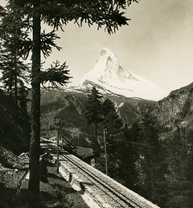 Switzerland Gornergrat Railway Matterhorn Old Stereo Photo Wehrli 1900
