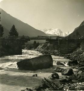 Switzerland Breithorn Panorama River Vispa Old Stereo Photo Wehrli 1900