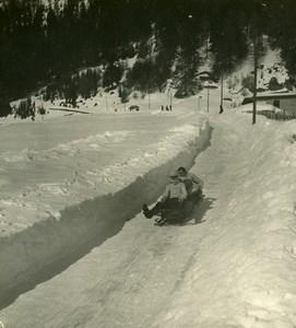 Switzerland Davos Bobsleigh Race Schatzalp Old Stereo Photo NPG 1900