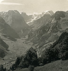 Switzerland Linthal valley Tödi Panorama Old Stereo Photo Wehrli 1900
