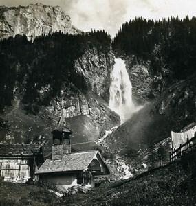 Switzerland Klausenstrasse Water Fall Staubefall Old Stereo Photo Wehrli 1900