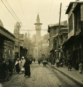 Middle East Syria Damascus Street Old NPG Stereo Photo 1900