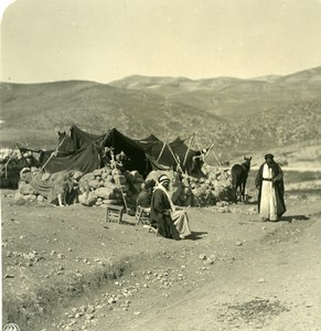 Middle East Israel Jerusalem Bedouins Camp Old NPG Stereo Photo 1900