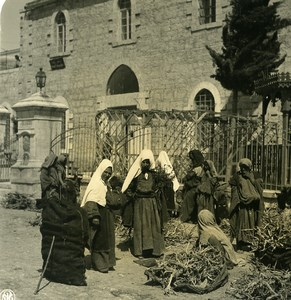 Middle East Palestine Bethlehem Women Market Old NPG Stereo Photo 1900