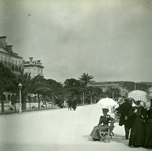 France Nice Promenade des Anglais Elegantes ancienne Photo Stereo Amateur Possemiers 1900