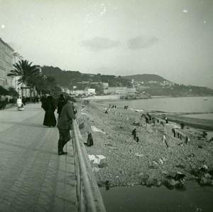 France Nice Quai du Midi Beach Old Amateur Stereo Photo Possemiers 1900