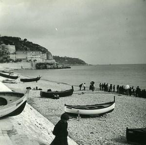 France Nice le Quai du Midi Barques de Peche ancienne Photo Stereo Amateur Possemiers 1900