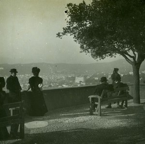 France Nice On terrace of the castle Old Amateur Stereo Photo Possemiers 1900