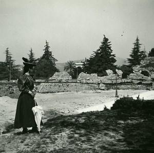 France Nice Cimiez Arenas Ruins Old Amateur Stereo Photo Possemiers 1900