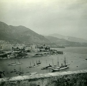 Monaco Panorama Sailboats Old Amateur Stereo Photo Possemiers 1900