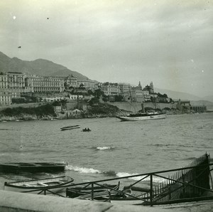 View of the quay of Monaco Old Amateur Stereo Photo Possemiers 1900