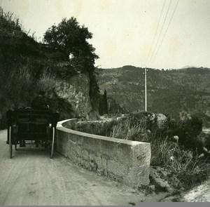 France Road to Eze Grande Corniche Old Amateur Stereo Photo Possemiers 1900
