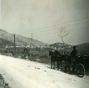 France Grande Corniche La Turbie View Old Amateur Stereo Photo Possemiers 1900