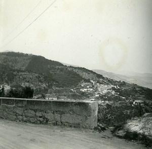 France Grande Corniche view of Roquebrune Amateur Stereo Photo Possemiers 1900